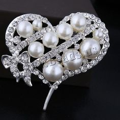 Glass Pearl Brooch, Zinc Alloy, Heart, platinum color plated, with glass pearl & with rhinestone, nickel, lead & cadmium free, 52x46mm, 10PCs/Lot,china wholesale jewelry beads
