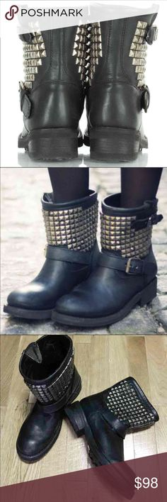 ASH Leather Studded Titan Moto Boots Brand new, never worn, no original box. Size is 36, or US women's 5.5/6. Authentic ASH black distressed genuine leather moto style boots embellished with antique silver tone metal studs. #s: gothic, witch, occult, punk, rock, horror, macabre, halloween, spooky, skulls Ash Shoes Combat & Moto Boots