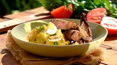 SHISA NYAMA WITH SPICY POTATO SALAD - This spicy potato salad is also delicious with grilled chicken pieces!