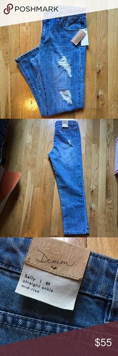 NWT RACHEL Rachel Roy Sally Distressed Ankle Jeans New with tags Rachel by Rachel Roy jeans in the style of Sally that has distressing all over and have a straight ankle hem and are mid rise style. Super cute and size 27! RACHEL Rachel Roy Jeans Ankle & Cropped
