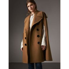 Burberry Wool Double-breasted Military Cape, Brown