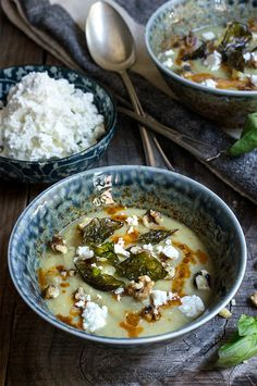 Cauliflower fennel soup - topped with crispy basil, feta cheese, toasted walnuts and paprika butter sauce. Delicious, and healthy, perfect for a cold winter day.   www.viktoriastable.com