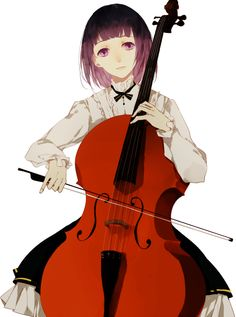 Girl playing cello -- purple hair!!