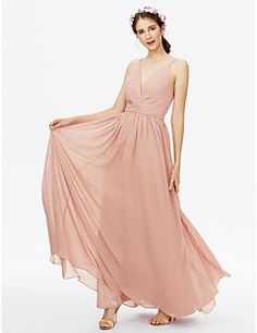 9c71e0980122 [$119.99] A-Line V Neck Floor Length Chiffon Bridesmaid Dress with Sash /  Ribbon / Criss Cross / Pleats by LAN TING BRIDE® / Open Back