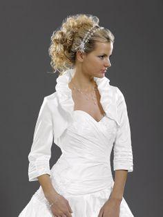 Free Shipping High Neck 3/4 Sleeve Pleat Taffeta 2014 Wedding Accessories Bridal Shawl Wrap Bolero Jacket US $25.00