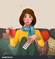 Sick Brunette girl. Cold. Medications, thermometer and cup. Vector isolated illustration. Cartoon character. Young girl quinsy flu or any other virus cold. Woman sitting on sofa pillows
