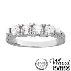 4 Stone Diamond Band with Antique Side Hand Engraving available at Wheat Jewelers