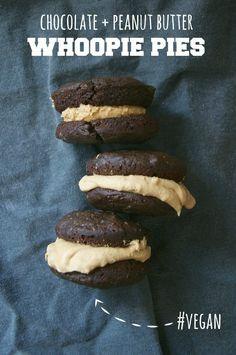 Vegan Chocolate + Peanut Butter Whoopie Pies #recipe // neverhomemaker