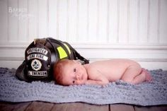 Newborn photo, newborn fireman photo idea