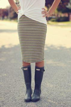 think i'll make myself a striped knit pencil skirt