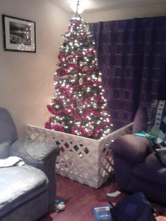 The top 30 Ideas About Baby Gate Around Christmas Tree .A Christmas decoration is any of several kinds of decoration made use of at Christmastime and also the better holiday … Christmas Tree Fence, Christmas 2017, Xmas Tree, Christmas Time, Christmas Crafts, Christmas Decorations, Fence Decorations, Christmas Stuff, Bamboo Fence