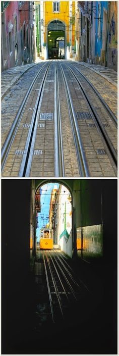 Elevador da Bica - Lisboa - Portugal Spain And Portugal, Portugal Travel, Portugal Trip, Lisbon Tram, Iberian Peninsula, Vacation Trips, Portuguese, Wonders Of The World, Places To Travel