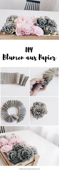 DIY Blumen aus Krepppapier Boho and Nordic DIY Interior Internet-Tagebuch . Crepe Paper Flowers, Diy Flowers, Flower Ideas, Flower From Paper, Potted Flowers, Origami Flowers, Wedding Flowers, Diy Décoration, Easy Diy