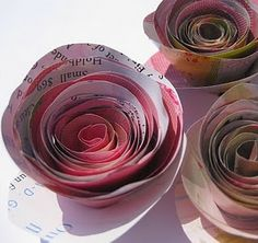 paper roses - from magazines