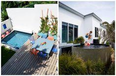 Une piscine dans un petit jardin : les solutions de propriétaires de quelques mètres carrés de patio, terrasse, verdure. Piscine extérieur en bois, béton...