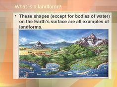 A 75 slide Power Point defining and describing both primary and secondary landforms.  Many questions and diagrams with colorful pictures and illustrations are included to inspire discussion and help students understand  the material.  This activity was designed by a social studies teacher and has been student tested.