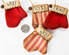 Homespun Christmas Ornaments | Primitive Holiday Christmas Mitten Ornament with Rusty Bell ...