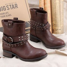NEW ARRIVAL women boots ankle with rivet fashion riding boots lady boots new fashion this season-in Boots from Shoes on Aliexpress.com
