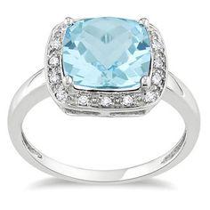 Miadora 10k White Gold Sky Blue Topaz and 1/10ct TDW Diamond Ring (G-H, I2)