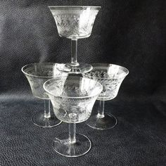 Antique Champagne Glasses / Vintage Stemware / Pall Mall Glasses / Etched…