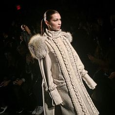 #NYFW Braids and fur trim give styling elevation to #PrabalGurung's winter white parka. #BellaHadid #纽约时装周 编织细节与帽檐皮草点缀让Prabal Gurung的白色派克大衣时髦升级  via VOGUE CHINA MAGAZINE OFFICIAL INSTAGRAM - Fashion Campaigns  Haute Couture  Advertising  Editorial Photography  Magazine Cover Designs  Supermodels  Runway Models