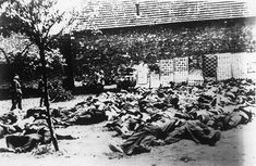 Nazis Liquidate Lidice -  All the inhabitants of Lidice were murdered  and the town was razed.  This pictures shows the bodies of the men and boys over age 16 of Lidice, Czechoslovakia, murdered by the Nazis on June 10, 1942, in reprisal for the assassination of SS Leader Reinhard Heydrich.