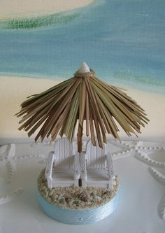 Tiki Umbrella Wedding Cake Topper~Seashell Cake Topper-Beach Wedding Cake Topper~Adirondack Chairs