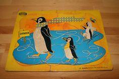 Vintage Built-Rite Furry Penguin Children's Puzzle ~ 1950s ~ No. 127 ~ Frame Tray ~ STA-N-PLACE ~ by ArtsyVintageBoutique