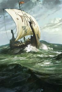 Impressive Viking Ship Names. The common image popping up in our heads about the Vikings is the warriors on a great ship crossing the ocean. The moments of the Viking glory would not have come without the Viking ships. Art Viking, Viking Warrior, Viking Dragon, Viking Woman, Digital Art Gallery, Ship Paintings, Image Digital, Norse Vikings, Norse Mythology