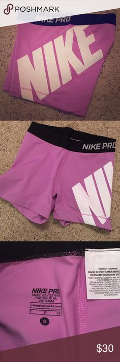 Purple Nike Pro Spandex Purple Nike Pro Spandex, worn once. In excellent condition. No cracks. No holes. No stains. Open to reasonable offers. :) thank you! Nike Shorts