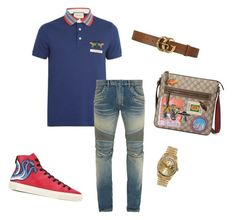 """Untitled #388"" by aintdatjulian on Polyvore featuring Gucci, Balmain, Rolex, men's fashion and menswear"