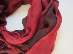 Handdyed Upcycled Black and Red Pashmina by patientpeonydesigns, arkansas razorback scarf, uga scarf, alabama scarf, red and black, mens scarf