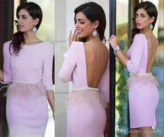 2016 Sexy Pink Feather Knee Length Cocktail Party Dresses Sheath Backless 3/4 Long Sleeves Back Split Beaded Sash Short Formal Evening Gowns Feather Cocktail Dresses Short Party Gowns 2016 Cocktail Dresses Online with $142.86/Piece on In_marry's Store | DHgate.com