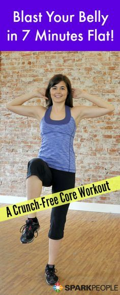 Bootcamp: 7-Minute Belly Blast Workout with Dumbbells Video. Great workout! I love challenging myself with plank! | via @SparkPeople #workout #abs
