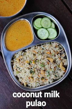 coconut milk pulao recipe, coconut rice pulao, coconut milk pulav with step by step photo/video. flavoured pulao recipe with long grain rice, coconut milk. Biryani, Veg Pulao, Rice Recipes, Indian Food Recipes, Vegetarian Recipes, Cooking Recipes, Coconut Milk Recipes Indian, South Indian Coconut Rice Recipe, Cooking Dishes