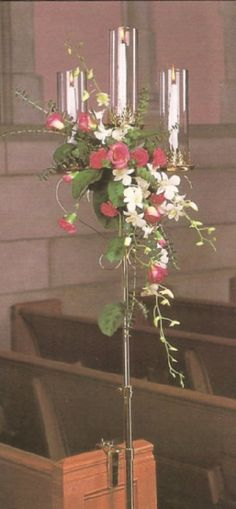 flower and candle arrangement ideas   Candle Pew Markers - 100s of Ideas for Church Wedding Decorations