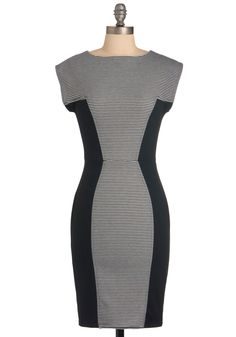 Things are Looking Uptown Dress - Mid-length, Urban, Black, White, Stripes, Exposed zipper, Work, Sheath / Shift, Short Sleeves, Bodycon / Bandage