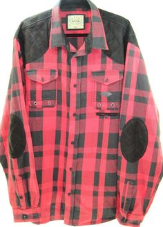 Parish Nation Men Plaid Flannel Shirt Size 4XL Red Black 100% Cotton Flap Pocket #ParishNation #ButtonFront