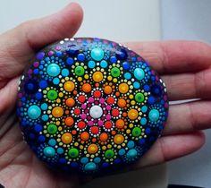 Mandala Stone ~ Painted Rocks ~ Colorful Dot Art~ Painting ~ Original Miranda Pitrone ~ Home Decor / Beach Stone / Rainbow Turquoise Blue by P4MirandaPitrone on Etsy