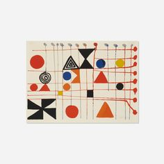 Lot 245: Alexander Calder 1898–1976. Quilt. 1966, lithograph on paper. 22 h x 30 w in. estimate: $1,000–1,500. Signed to lower right corner 'Calder'. This work is from the edition of 600 printed by Mourlot, Paris and published by the Founder's Society, Detroit Institute of Arts. Provenance: Private Collection, Detroit
