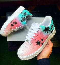 Nike Shoes OFF! ►► New custom Nike Air Force 1 men's ladies Cute Nike Shoes, Nike Air Shoes, Cute Sneakers, Shoes Sneakers, Air Force Sneakers, Colorful Nike Shoes, Air Force Shoes, Big Shoes, New Nike Shoes