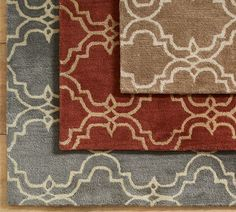 Love the gray version of this rug! | Scroll Tile Rug - Mocha | @Pottery Barn