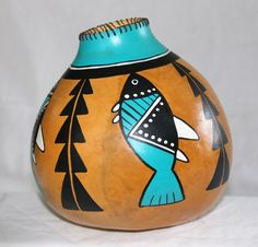 Navajo hand painted gourd by ATouchofWoodstock on Etsy, $59.00
