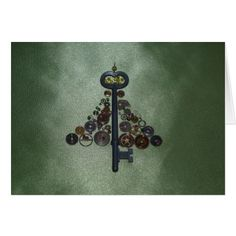 Green Steampunk Christmas Tree Card - click/tap to personalize and buy