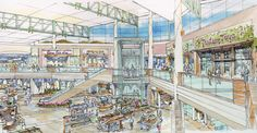 Retail mall watercolor concept image.