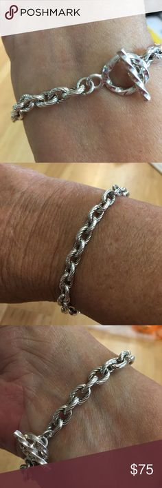 Sterling Silver Bracelet .925. Sterling Silver Bracelet. Marked .925 DC. 71/2 inches long. Toggle clasp. In excellent used condition. Jewelry Bracelets