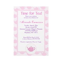 Time for Tea Teapot (Pink) Bridal Shower 5x7 Custom Invitations from http://www.zazzle.com/tea+party+bridal+shower+invitations