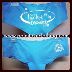 Our new, super cute panties were inspired by pole dancers who rock their business suits by day, and the pole by night! With a cheeky, booty short cut, our Drea Panties feature our PANTIES ARE MY POWER SUIT artwork across the back! Sizes small, medium, and large available (turquoise only). $17 USD, worldwide shopping available! Shop online at http://www.etsy.com/shop/poleiticalclothing #poledance #poledancing #polefitness