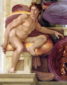 Google Image Result for http://upload.wikimedia.org/wikipedia/commons/b/b7/Michelangelo_Sistine_Chapel_-_Ignudo_above_Cumaean_Sibyl_-_restored.jpg