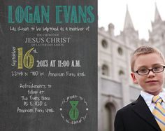 5x7 Colored Chalkboard style LDS Baptism Invitation / Announcement Boy or Girl